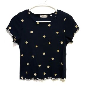 Altar'd State Embroidered Sunflower Top Size M/L